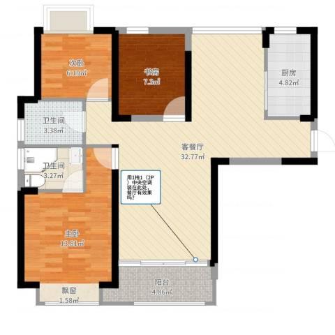 听涛观海龙台3室2厅2卫1厨95.00㎡户型图