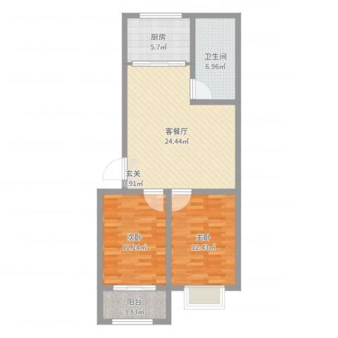 银枫家园2室2厅1卫1厨82.00㎡户型图