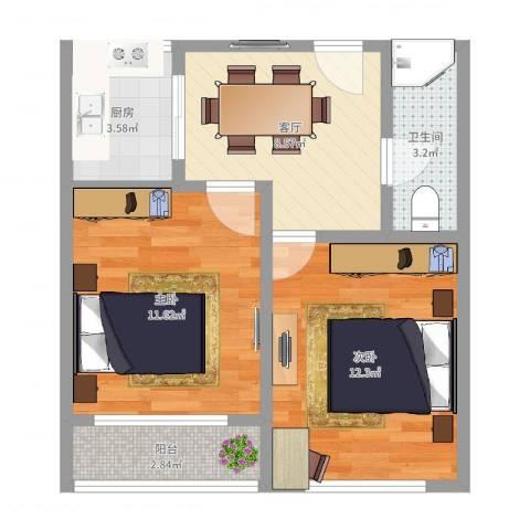 柳埠小区2室1厅1卫1厨53.00㎡户型图