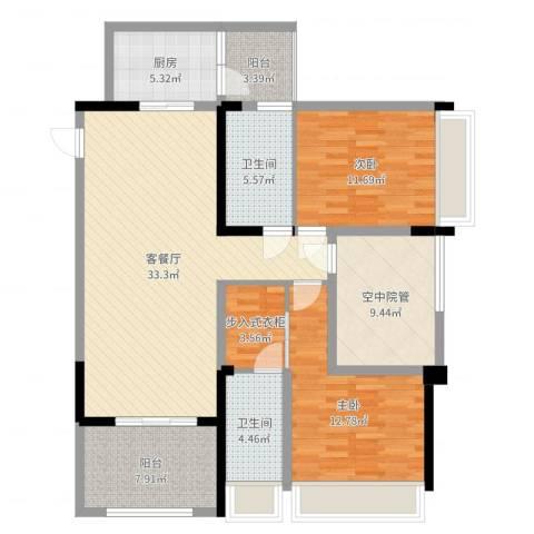 泽胜中央广场2室2厅2卫1厨122.00㎡户型图
