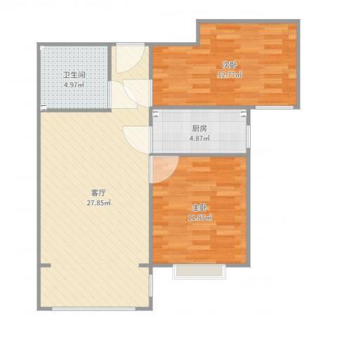 瑞府2室1厅1卫1厨78.00㎡户型图