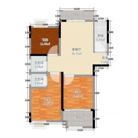 禹洲翡翠湖郡3室2厅2卫1厨123.00㎡户型图