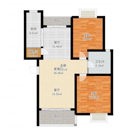 星河世纪城2室2厅1卫1厨112.00㎡户型图