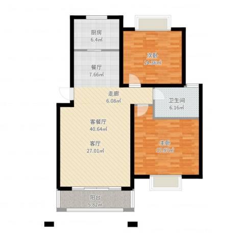 星河世纪城2室2厅1卫1厨114.00㎡户型图
