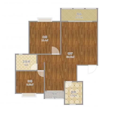 星河世纪城二期2室1厅1卫1厨105.00㎡户型图