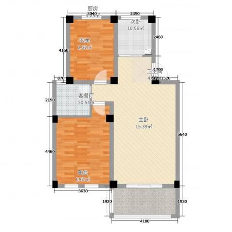 中央华府(赣榆)2室2厅1卫1厨90.00㎡户型图