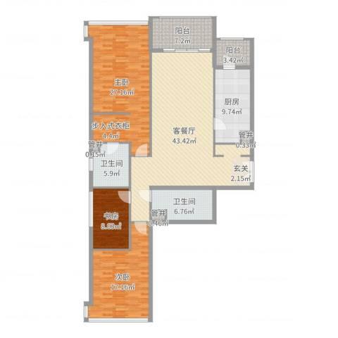翠湖天地嘉苑3室2厅2卫1厨163.00㎡户型图