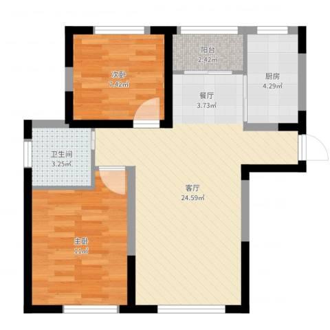 新里海德公馆2室1厅1卫1厨66.00㎡户型图