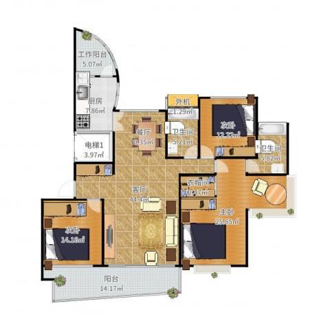 湖畔天城3室1厅2卫1厨178.00㎡户型图
