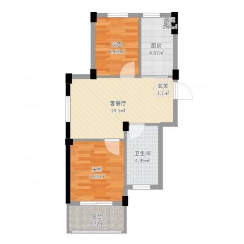 阳光逸城2室2厅1卫1厨54.00㎡户型图