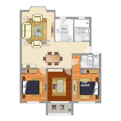 望京欧院2室2厅2卫1厨112.00㎡户型图
