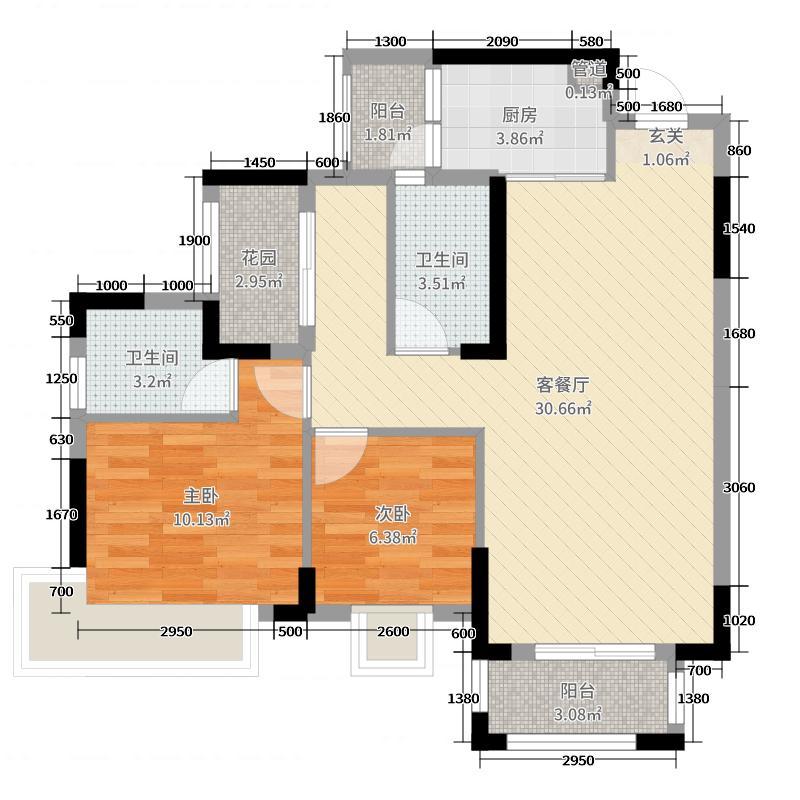 鸿安御花园90.00㎡5座07单元户型3室3厅2卫1厨