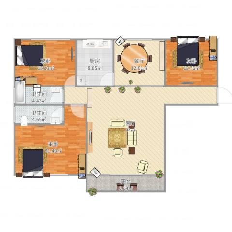 星河世纪城三期3室2厅2卫1厨163.00㎡户型图