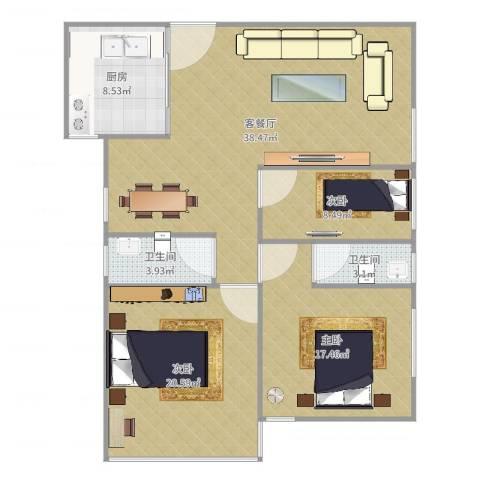 乔康大厦1703户型3室2厅2卫1厨101.00㎡户型图
