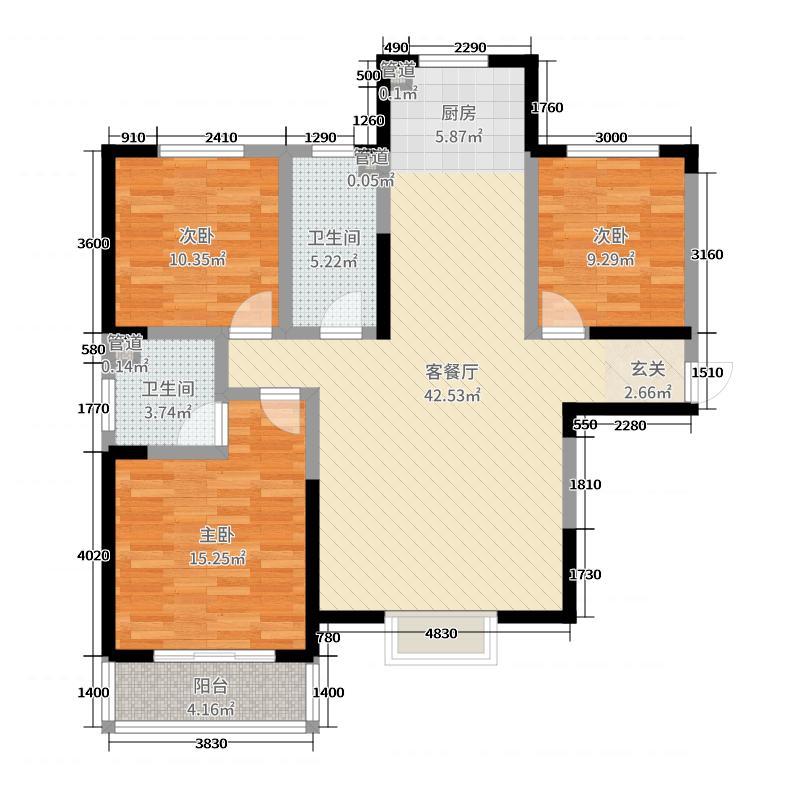 先河西区・泉上花间128.32㎡先河国际西区8#户型3室3厅2卫1厨