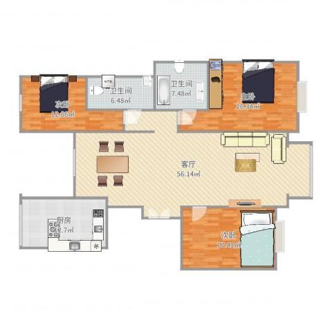 园丁小区3室1厅2卫1厨133.41㎡户型图