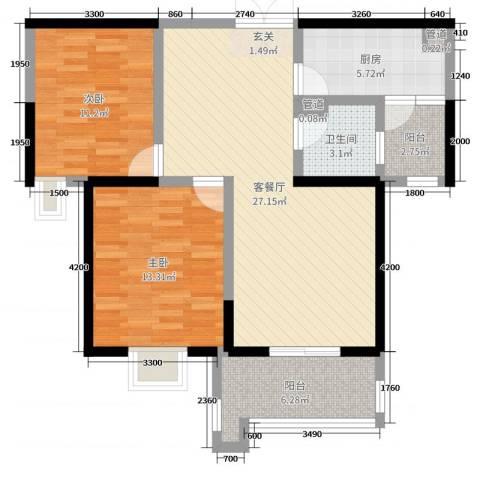 铭城国际社区2室2厅1卫1厨69.81㎡户型图