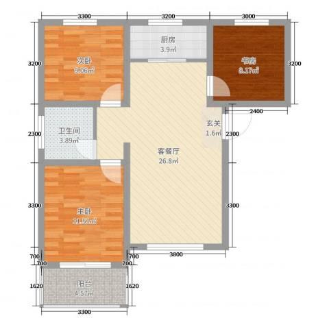 响水湾养老生态城3室2厅1卫1厨90.00㎡户型图