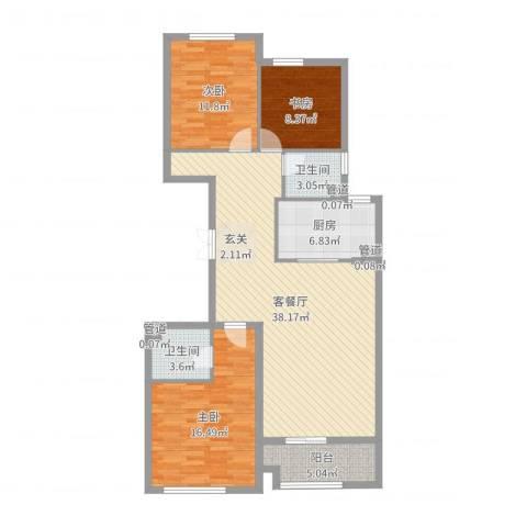 君豪・绿园3室2厅2卫1厨117.00㎡户型图