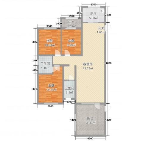 国仕山3室2厅2卫1厨155.00㎡户型图