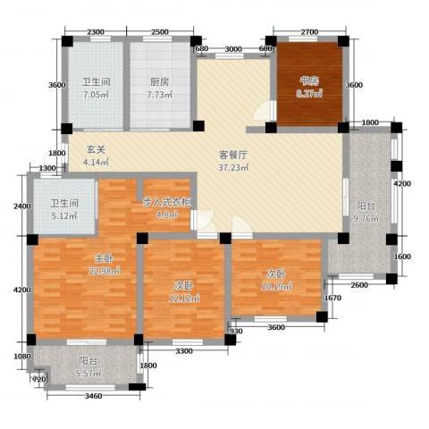 长宏水岸名城4室2厅2卫1厨151.00㎡户型图