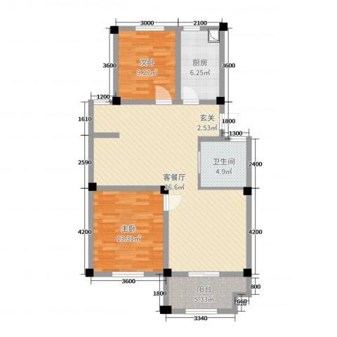 长宏水岸名城2室2厅1卫1厨133.00㎡户型图