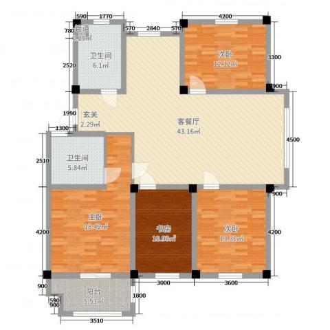 长宏水岸名城4室2厅2卫0厨133.00㎡户型图