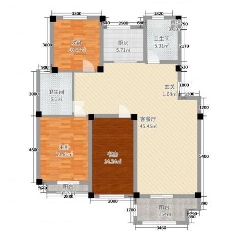长宏水岸名城3室2厅2卫1厨130.00㎡户型图