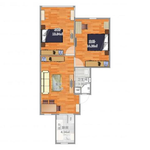 瑞冬小区2室1厅1卫1厨67.00㎡户型图