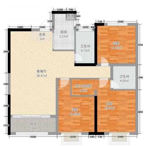 铭城国际社区3室2厅2卫1厨96.00㎡户型图