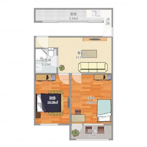 宜川六村2室1厅1卫1厨59.00㎡户型图