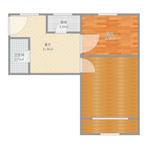 宜川六村1室1厅1卫1厨56.00㎡户型图