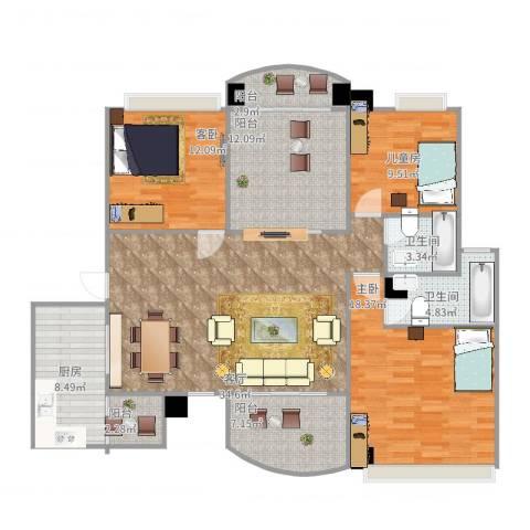 咸宁碧桂园3室1厅2卫1厨157.00㎡户型图