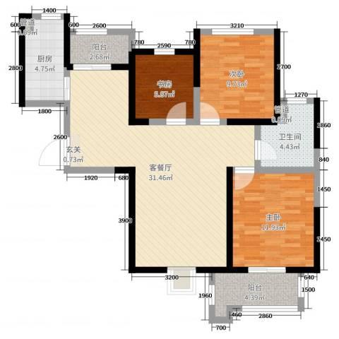 铭城国际社区3室2厅1卫1厨75.43㎡户型图