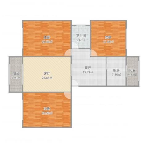 上南玲珑苑3室2厅1卫1厨157.00㎡户型图