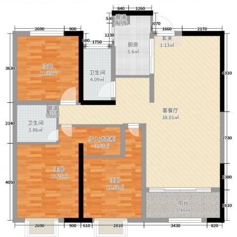 铭城国际社区3室2厅2卫1厨97.68㎡户型图