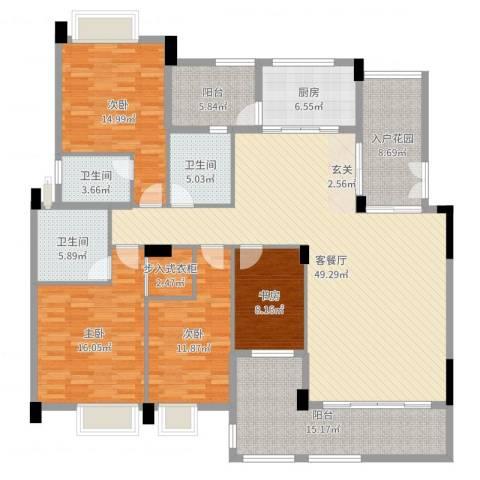 卢浮公馆4室2厅3卫1厨192.00㎡户型图
