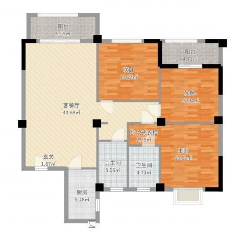 蔚蓝国际3室2厅2卫1厨135.00㎡户型图