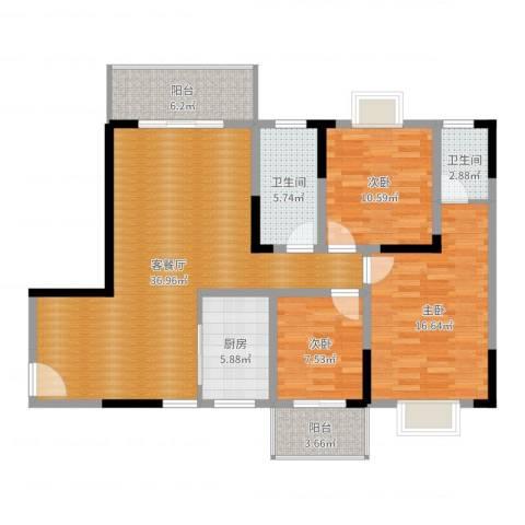 长虹百花沁苑3室2厅2卫1厨120.00㎡户型图