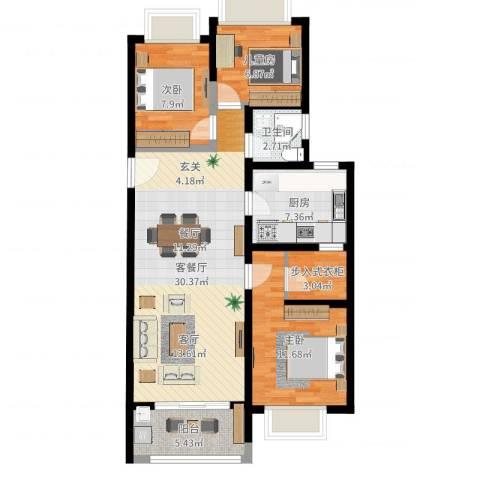 御沁园103平3室2厅1卫1厨94.00㎡户型图