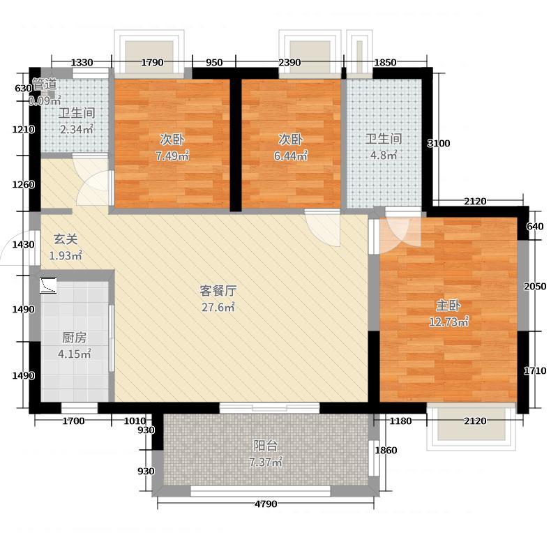 时代倾城95.00㎡1栋03户型3室3厅2卫1厨