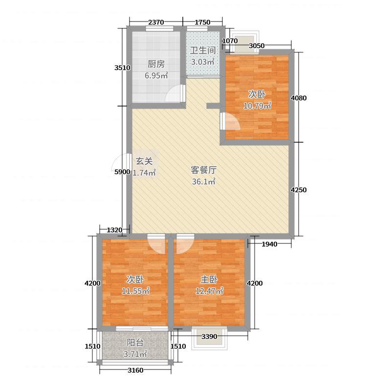 云峰丽景105.07㎡18号楼E2户型3室3厅1卫1厨