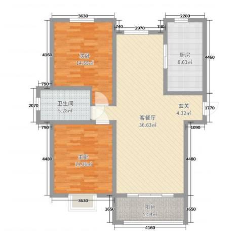 心海假日2室2厅1卫1厨107.00㎡户型图