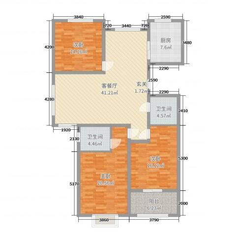 心海假日3室2厅2卫1厨147.00㎡户型图