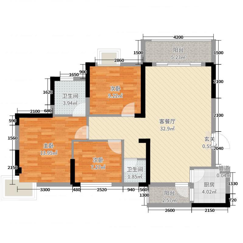 凯富南方鑫城110.69㎡8栋C-5户型3室3厅2卫1厨