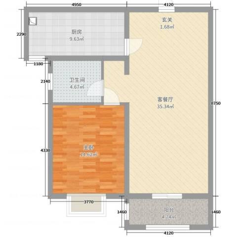 心海假日1室2厅1卫1厨87.00㎡户型图