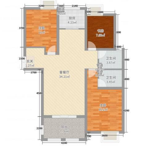 金湖国际3室2厅2卫1厨117.00㎡户型图