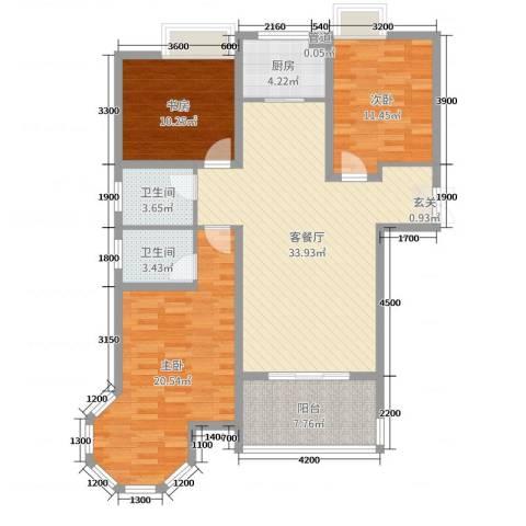 金湖国际3室2厅2卫1厨128.00㎡户型图