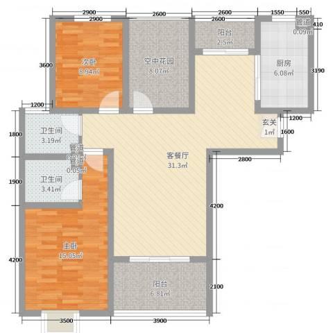 金湖国际2室2厅2卫1厨113.00㎡户型图