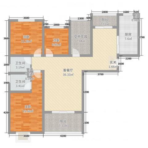 金湖国际3室2厅2卫1厨135.00㎡户型图
